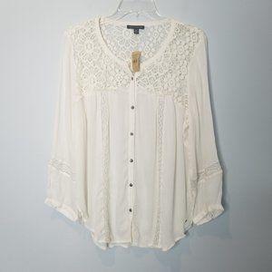American Eagle boho cream Crochet Lace Blouse XL